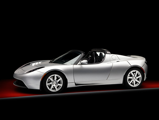 AUT 43 RK0225 01 © Kimball Stock 2008 Tesla Roadster Silver 3/4 Front View Studio