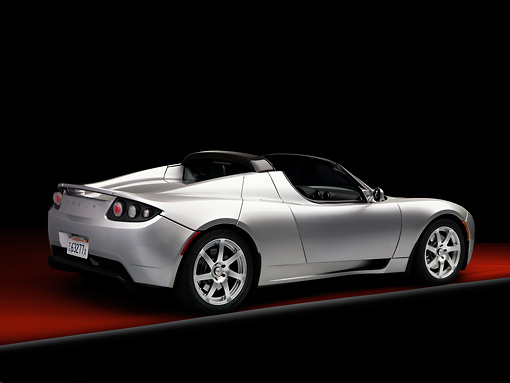 AUT 43 RK0227 01 © Kimball Stock 2008 Tesla Roadster Silver 3/4 Rear View Studio