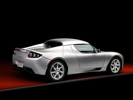 AUT 43 RK0228 01 © Kimball Stock 2008 Tesla Roadster Silver 3/4 Rear View Studio