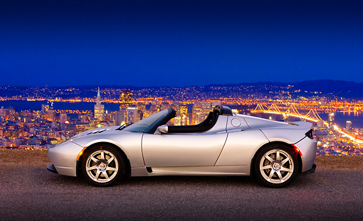 AUT 43 RK0232 01 © Kimball Stock 2008 Tesla Roadster Silver Profile View On Pavement