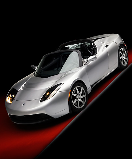 AUT 43 RK0238 01 © Kimball Stock 2008 Tesla Roadster Silver 3/4 Front View Studio