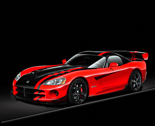 AUT 43 RK0241 01 © Kimball Stock 2008 Dodge Viper SRT/10 ACR Red And Black 3/4 Front View Studio