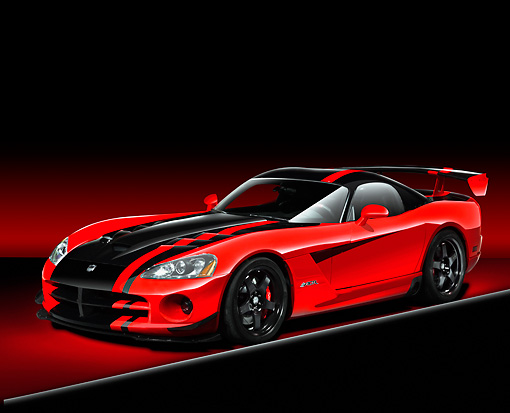 AUT 43 RK0241 02 © Kimball Stock 2008 Dodge Viper SRT/10 ACR Red And Black 3/4 Front View Studio