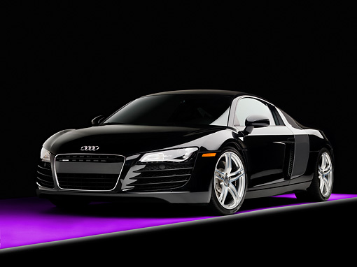 AUT 43 RK0243 01 © Kimball Stock 2008 Audi R8 Coupe quattro R Tronic Black 3/4 Front View Studio
