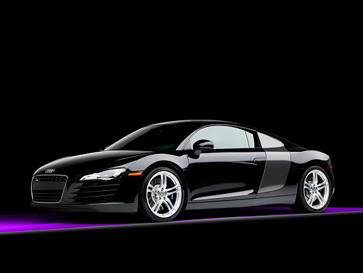 AUT 43 RK0244 01 © Kimball Stock 2008 Audi R8 Coupe quattro R Tronic Black 3/4 Front View Studio