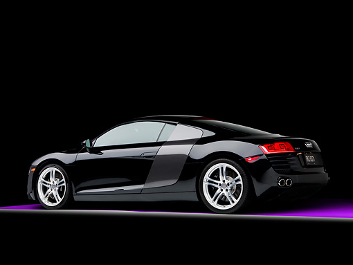 AUT 43 RK0245 01 © Kimball Stock 2008 Audi R8 Coupe quattro R Tronic Black 3/4 Rear View Studio