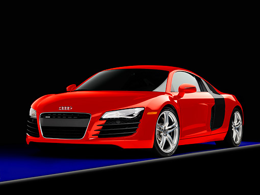 AUT 43 RK0262 01 © Kimball Stock 2008 Audi R8 Coupe quattro R Tronic Red 3/4 Front View Studio