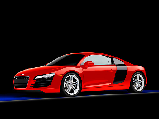 AUT 43 RK0263 01 © Kimball Stock 2008 Audi R8 Coupe Quattro R Tronic Red 3/4 Front View Studio