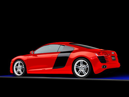 AUT 43 RK0264 01 © Kimball Stock 2008 Audi R8 Coupe quattro R Tronic Red 3/4 Rear View Studio