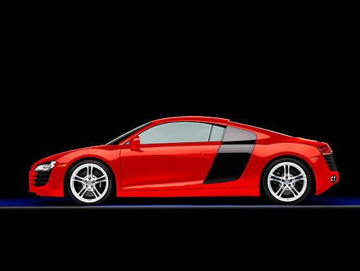 AUT 43 RK0265 01 © Kimball Stock 2008 Audi R8 Coupe quattro R Tronic Red Profile View Studio