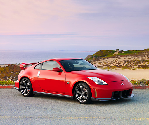AUT 43 RK0298 01 © Kimball Stock 2008 Nissan NISMO Z Red 3/4 Front View By Ocean