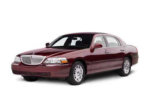 AUT 43 RK0310 01 © Kimball Stock 2008 Lincoln Town Car Red 3/4 Front View Seamless Studio