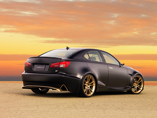 AUT 43 RK0329 01 © Kimball Stock 2008 Lexus Project IS F Black 3/4 Rear View At Dusk