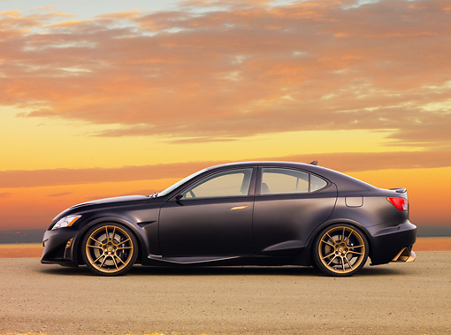 AUT 43 RK0332 01 © Kimball Stock 2008 Lexus Project IS F Black Profile View At Dusk
