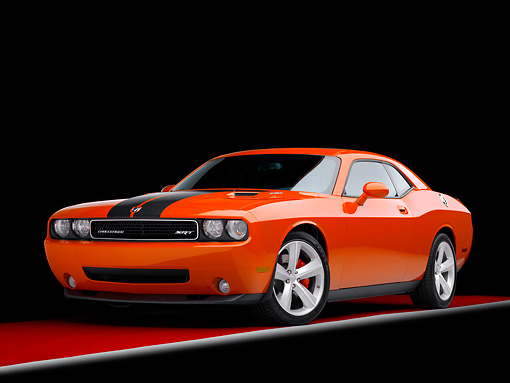 AUT 43 RK0340 01 © Kimball Stock 2008 Dodge Challenger SRT8 Orange 3/4 Front View Studio