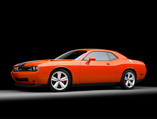 AUT 43 RK0342 01 © Kimball Stock 2008 Dodge Challenger SRT8 Orange 3/4 Front View Studio