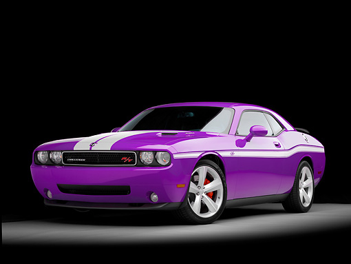 AUT 43 RK0346 01 © Kimball Stock 2008 Dodge Challenger R/T Custom Plum Crazy 3/4 Front View Studio