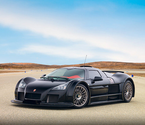 AUT 43 RK0347 01 © Kimball Stock 2008 Gumpert Apollo Black 3/4 Front View On Pavement