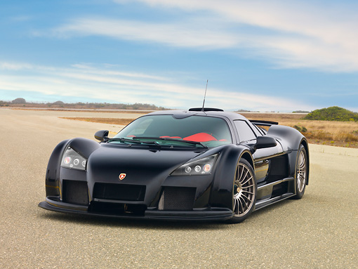 AUT 43 RK0349 01 © Kimball Stock 2008 Gumpert Apollo Black 3/4 Front View On Pavement