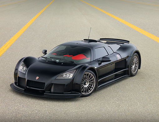 AUT 43 RK0350 01 © Kimball Stock 2008 Gumpert Apollo Black 3/4 Front View On Pavement