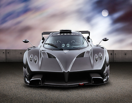 AUT 44 BK0008 01 © Kimball Stock 2009 Pagani Zonda R Gray Front View On Pavement At Night