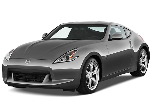 AUT 44 IZ0098 01 © Kimball Stock 2010 Nissan 370Z Touring Coupe Gray 3/4 Front View Studio