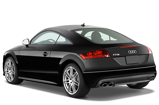 AUT 44 IZ0123 01 © Kimball Stock 2010 Audi TTS Coupe Black 3/4 Rear View Studio