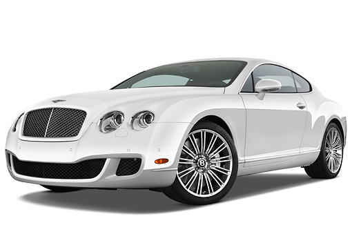 AUT 44 IZ0130 01 © Kimball Stock 2010 Bentley Continental GT Speed White 3/4 Front View Studio