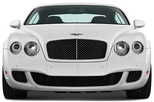 AUT 44 IZ0133 01 © Kimball Stock 2010 Bentley Continental GT Speed White Front View Studio