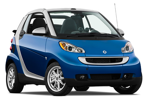 AUT 44 IZ0169 01 © Kimball Stock 2009 Smart Fortwo Cabriolet Blue And Silver 3/4 Front View Studio