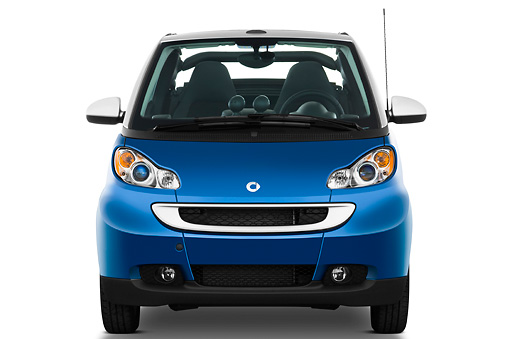 AUT 44 IZ0173 01 © Kimball Stock 2009 Smart Fortwo Cabriolet Blue And Silver Front View Studio