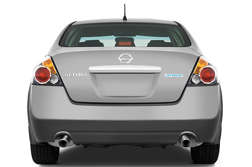 AUT 44 IZ0188 01 © Kimball Stock 2009 Nissan Altima Hybrid Gray Rear View Studio
