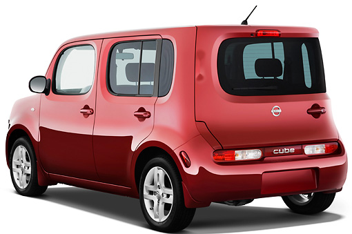 AUT 44 IZ0219 01 © Kimball Stock 2013 Nissan Cube SL Red 3/4 Rear View Studio