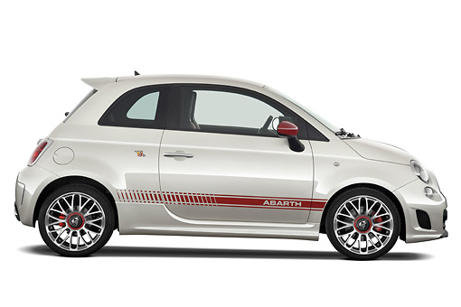 AUT 44 IZ0301 01 © Kimball Stock 2013 Fiat 500 Abarth White Profile View Studio