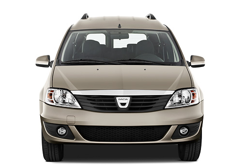 AUT 44 IZ0328 01 © Kimball Stock 2013 Dacia Logan Laureate Minivan Bronze Head On View On White Seamless