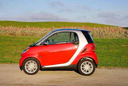 AUT 44 RK0085 01 © Kimball Stock 2009 Smart Fortwo Passion Coupe Red And Silver Profile View On Pavement By Field