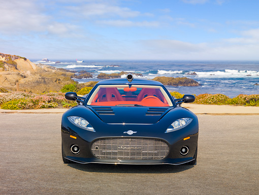 AUT 44 RK0114 01 © Kimball Stock 2009 Spyker C8 Aileron Gray Front View On Pavement By Ocean