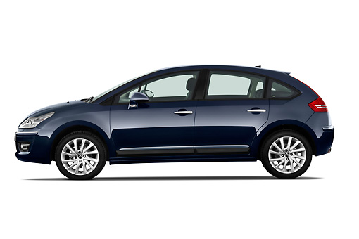 AUT 44 RK0116 01 © Kimball Stock 2010 Citroen C4 Executive 5-Door Hatchback Blue Profile On White Seamless