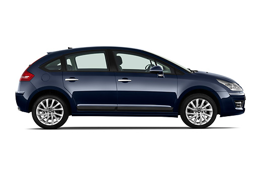 AUT 44 RK0117 01 © Kimball Stock 2010 Citroen C4 Executive 5-Door Hatchback Blue Profile On White Seamless