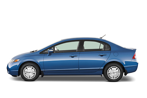 AUT 44 IZ0058 01 © Kimball Stock 2011 Honda Civic Hybrid Blue Profile View Studio
