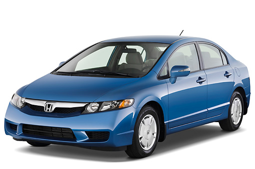 AUT 44 IZ0060 01 © Kimball Stock 2011 Honda Civic Hybrid Blue 3/4 Front View Studio