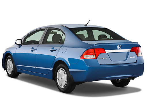 AUT 44 IZ0062 01 © Kimball Stock 2011 Honda Civic Hybrid Blue 3/4 Rear View Studio