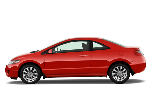 AUT 44 IZ0082 01 © Kimball Stock 2011 Honda Civic Coupe Red Profile View Studio