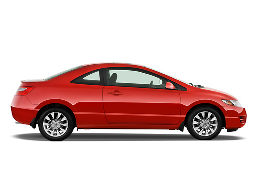 AUT 44 IZ0083 01 © Kimball Stock 2011 Honda Civic Coupe EX Red Profile View Studio