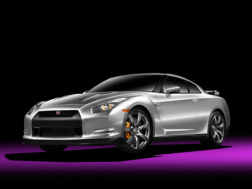 AUT 44 RK0001 01 © Kimball Stock 2009 Nissan GT-R Silver 3/4 Front View Studio