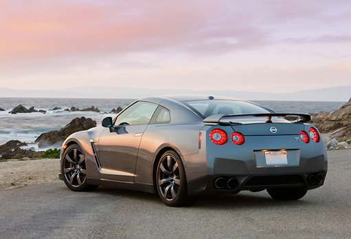 AUT 44 RK0010 01 © Kimball Stock 2009 Nissan GT-R Gray 3/4 Rear View By Ocean