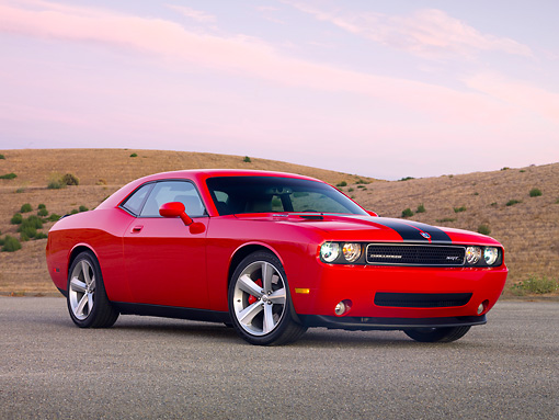 AUT 44 RK0021 01 © Kimball Stock 2009 Dodge Challenger SRT8 Limited Edition Red Black Stripe 3/4 Front View On Pavement By Hills
