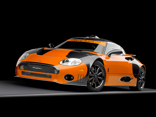 AUT 44 RK0035 01 © Kimball Stock 2009 Spyker C8 Laviolette LM85 Orange And Black 3/4 Front View Studio