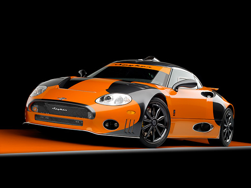 AUT 44 RK0036 01 © Kimball Stock 2009 Spyker C8 Laviolette LM85 Orange And Black 3/4 Front View Studio