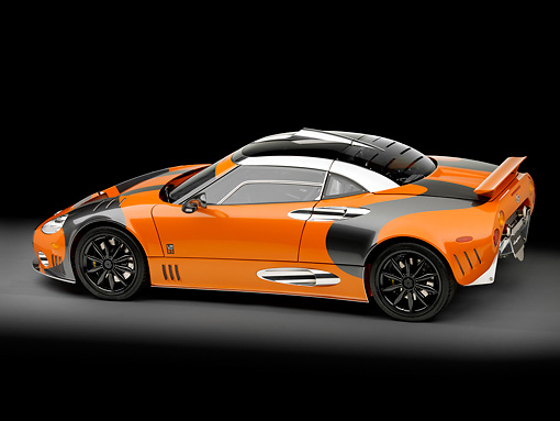 AUT 44 RK0037 01 © Kimball Stock 2009 Spyker C8 Laviolette LM85 Orange And Black 3/4 Rear View Studio